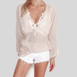 Johnny Was Eyelet Embroidered Floral Top in Blush